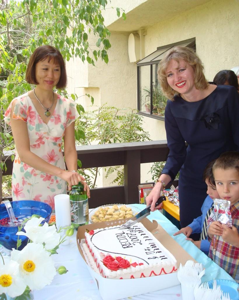 Music recital banquet cutting the cake