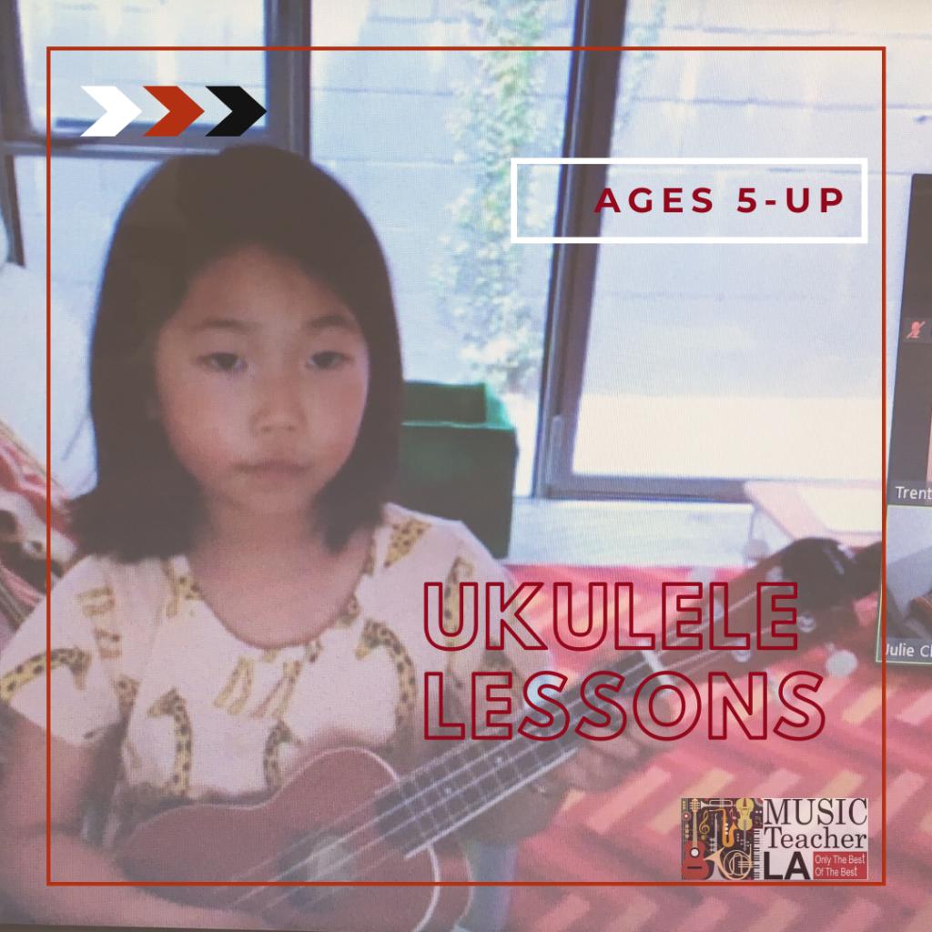 Young girl plays ukulele at ukulele virtual online lesson